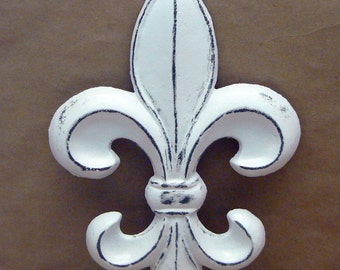 Fleur de lis FDL Cast Iron Painted Distressed Bright White Classic White Shabby Elegance Wall Decor French Decor, Paris