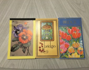 Vintage BRIDGE SCORE PAD Collection Pansy Aarco, Tulip Spring Garden Caspari, Tiffany Lamp Stancraft Card Game