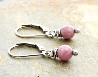 Pink Gemstone Earrings - Lepidolite Jewelry - Short Dangle Earrings - Sterling Silver - Lightweight - Lever Back #4890