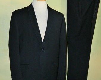 42  Vintage 50s  Charcoal Black Suit Capps Clothes Rounded Lapel Wool Mad Men