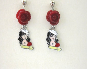 Red Rose Rockabilly Earrings Pinup Sailor Girl Jewelry