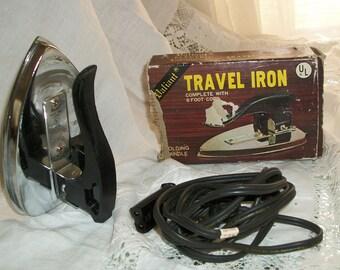 1960s Vintage Valiant Traveling Iron Folding Orig Box Works Perfectly