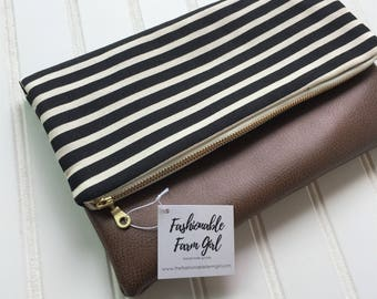 Black stripe foldover clutch - vegan leather foldover bag - bridesmaid gift - stripe clutch - fold over clutch-vegan leather clutch bag-