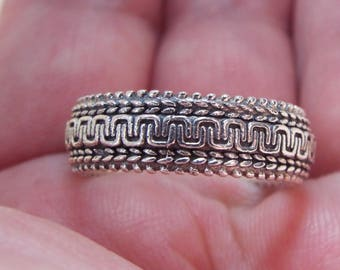 Clearance SALE**Solid 925 Sterling Silver Engraved Band Ring, Stackable, Minimalist, Boho, Wedding Band Size 9