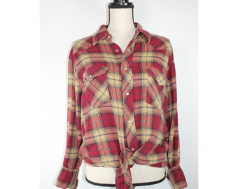 Vintage Wrangler Snap Front Flannel, Retro, 60s, 70s, Western, Women's, Men's, Cowboy, Cowgirl, Rodeo