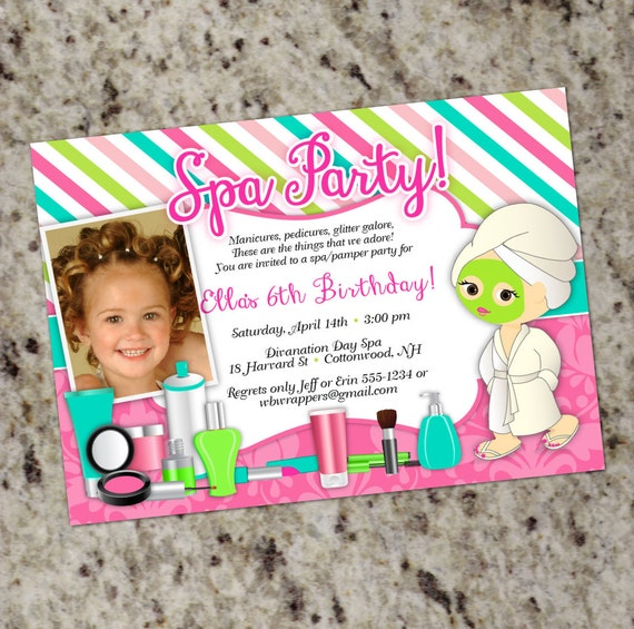 Pamper birthday party invitations spa party invitation like this item stopboris Image collections