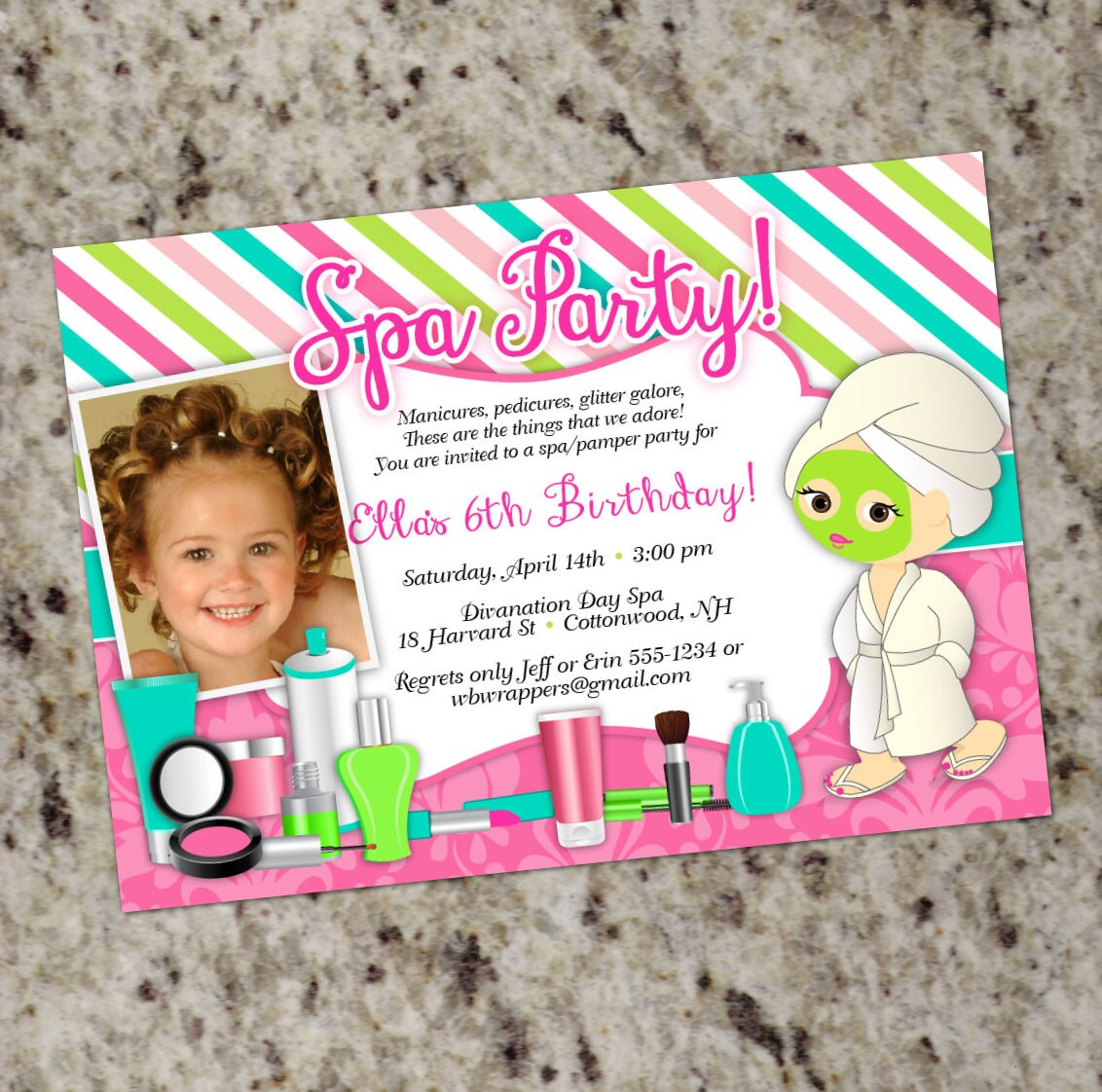 Pamper Birthday Party Invitations Spa Party Invitation