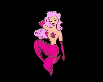 Pin Up Mermaid Enamel Pin