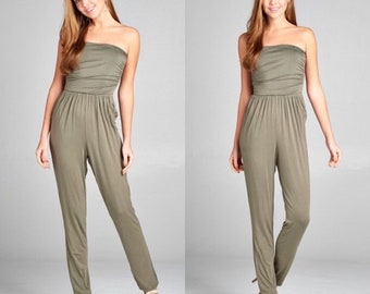 womens jumpsuit, tube top jumpsuit army green, olive jumpsuits, sleeveless pant jumpsuit olive, sleeveless jumpsuit, sleeveless pant suit