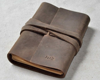 Custom Personalizable Leather Journal  (Free stamp)