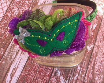 Felt Mardi Gras Inspired Shabby Flower Headband with Teeth - South Girls Photo Prop  Parade Accessories  Pink Purple Green - READY TO SHIP
