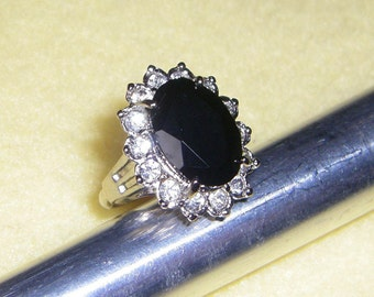 Vintage Evening Glamour Avon Ring, genuine onyx and rhinestone cluster ring, signed avon silver tone ring, size 6, 1994