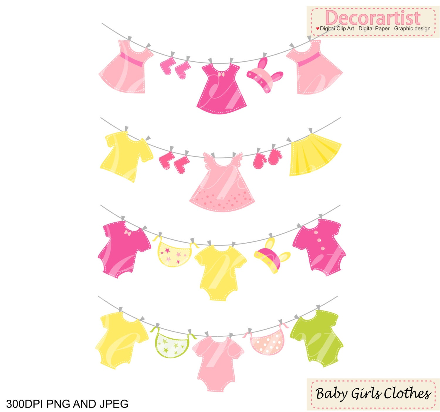 ON SALE baby clothes hanging clipart Baby girl ClipArt pink baby