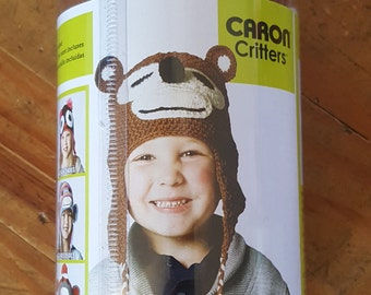 Hand Knitting Kit, Crochet Kit, DIY, Monkey Hat, Caron Critters Monkey hat kit-New Complete kit-Sizes for the whole family-DIY hat kit