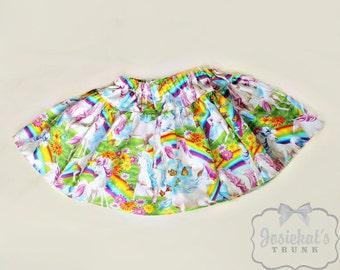 Unicorn Skirt - Girl Twirl Skirt - Pony Pink Twirl Skirt - Infant Rainbow Skirt - Tween Skirt - Toddler Cotton Fabric 6 month to Girl 16