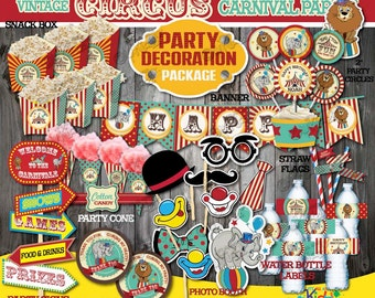 Circus Birthday Party Decoration Package-non-personalized Vintage Circus Party-Printable Carnival Party Decoration-Instant Download!