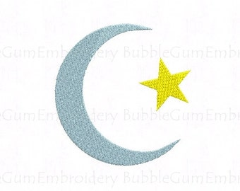 Crescent Moon and Star Embroidery Design Instant Download