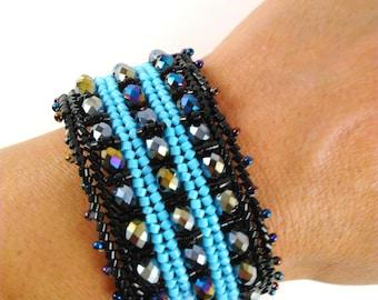 turquoise cuff bracelet - Silver handmade jewelry - beaded bracelet - original bracelet