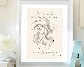 Ariel Little mermaid A4 Print