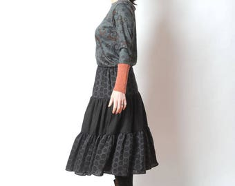 Long black skirt, Womens tiered skirt, Black bohemian skirt, Womens clothing, Womens skirts, MALAM, size M