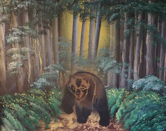 Spray Paint Art Bear Woods Forest Trees Landscape Grizzly