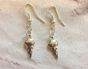 Ice Cream Earrings, Cone Earrings, Ice Cream Cone Jewellery, Silver Earrings, Iced Cream, Ice Cream Charms.