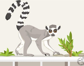 "wall decal ""lemur"" monkey nursary jungle animal"