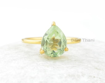 Green Amethyst Ring, Green Amethyst Quartz 8x10mm Pear Gemstone Sterling Silver Ring, Handmade Ring, Gold Plated Ring, Gift For Her