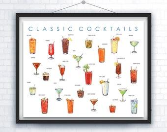 Cocktail Plakatkunst – Cocktail Cocktail-Stunde – Cocktail Geschenke – Cocktail Drucken – Kunst – Bar Dekor – Infografik – Küche