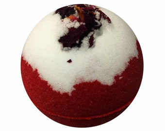 Rose Bath Bomb, Coconut Oil, Shea Butter. Valentines Day Gift, Handmade Bath Fizzy For Her, Anniversary Bath Bombs