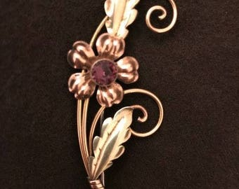 Van Dell 12k Gold Fill on Sterling with Amethyst Color Stone