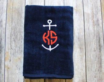 Anchor & Monogrammed Beach Towel, Personalized Beach Towel, Nautical Beach Towel, Monogrammed Beach Towel