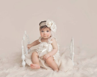 lace headband, gold headband, newborn headbands, baby lace headband, girl lace headband, baby headband, girls headband, cream, couture