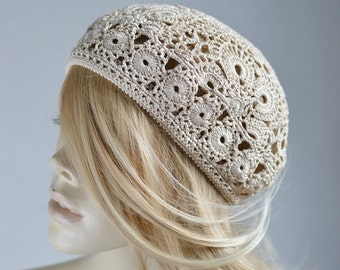 Womens crochet hat Crocheted hat Women's hat beret Summer beret Crochet summer beret Crochet beret Handmade hat Cotton knit hat Lace beret
