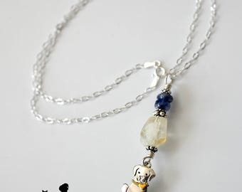 Rescue Jewels Dog Necklace with Citrine, Kyanite and Sterling Silver