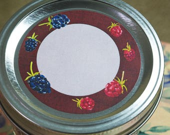 "Jam Label Berry Jam Loose Tea Food Label, Canning Label Mason Jar Label Jar Lid Label, 2.5"" Round Label Circle Organizing Label -CL296"