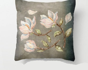 Throw Pillow Cover with pillow insert Indoor, PRINT, art. Magnolias  - animal, art - woodland - fine art -living  - childrens  - nursery