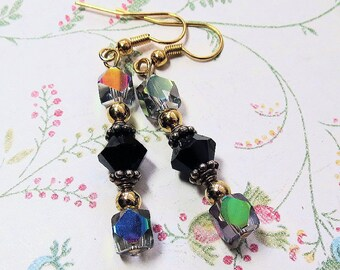 Elegant Handmade AB Crystal Earrings, Two Tone Dangle Earrings, Black and Aroura Borealis Earrings on Wires