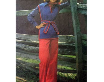 Women's Tunic and Straight Leg Elastic Waist Pants Sewing Pattern Misses' Size 18 Bust 40 Vintage 1970's Uncut Butterick 5108