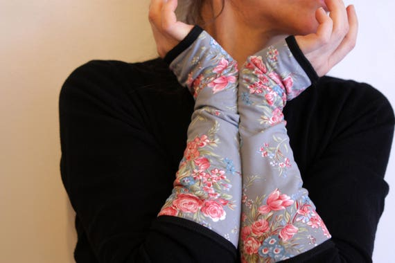 Long mittens blue gray floral romantic double Lycra cotton jersey