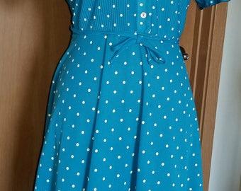 Retro 80's Polka Dot Vintage Secretary Midi Dress 80s VTG Sundress
