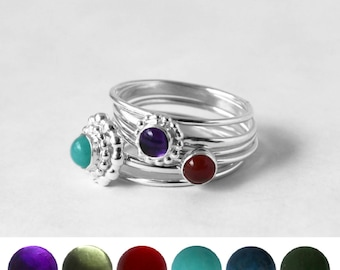 Variety of Stacking Rings in Sterling Silver