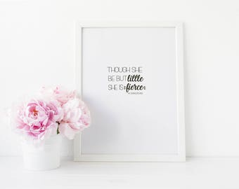 Nursery Wall Art - Though She be Little - Girls Nursery Wall Art