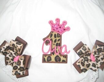 Baby girl Leopard birthday bloomers, personalized bloomers, First Birthday bloomers, monogrammed bloomers,  Leopard print, cake smash,