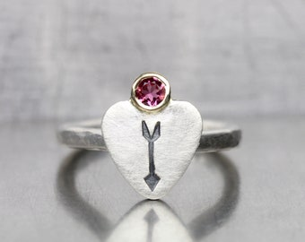 Cute Heart and Arrow Pink Tourmaline Ring Silver 14K Yellow Gold Romantic Stamped Oxidized Rustic Modern Setting For Her Love - Coeur Flèche