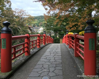 Red Bridge Stone Path Fall Leaves Digital Download High Resolution Travel Photography Izu Japan Autumn