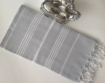 SALE 25% OFF Classic Turkish Towel, Peshtemal, Natural Soft Cotton Bath towel, Spa,  Beach Towel, Mother's day, gray, grey