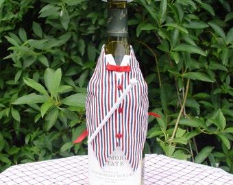 Wine Bottle Vest, Patriotic, Red white & blue, Wine gift, bottle costume, top hat, bow tie
