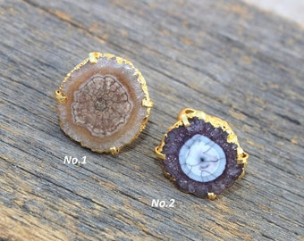 24kt Gold Electroplated Purple & Brown Solar Quartz Ring / Druzy Ring / Adjustable Ring / Statement Ring / One Of A Kind Gemstone Ring RS06