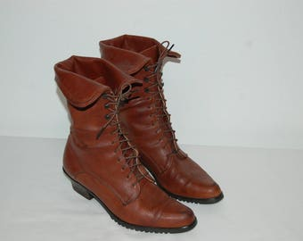 Women Size 8 1/2 Vintage 1980s Brown Leather Tall Boots
